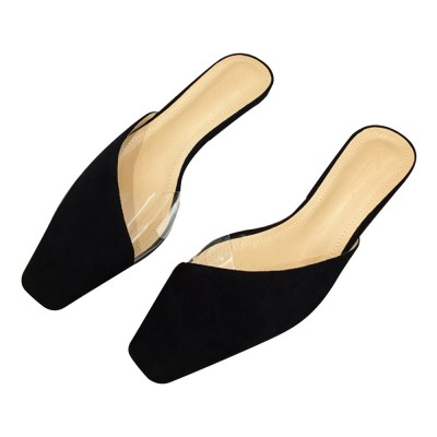 Summer Flat Shoes Ladies Fashion Slippers Leopard Tip Binding Pointed Backless Loafer Mueller Shoes 2019 New