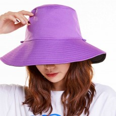 Double-sided Bucket Hat Polyester Ladies Korea Simple All-matched Big-brimmed Outdoor Sun Hat Spring Summer