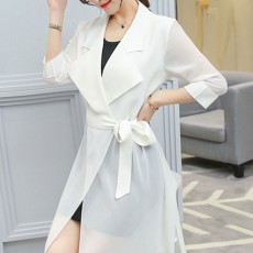 Lady Chiffon Wind Coat Mid-long Sun-proof Wind-proof Coat Sun Coat Thin Outwear with Waistband for Women