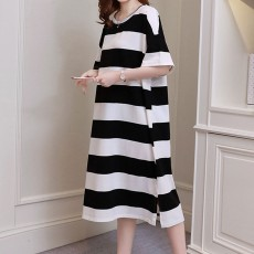 Stripe Pattern One-piece, Pregnancy Extra Large Wear, Over-size Loose Long Dress for Spring & Summer Maternity Dress
