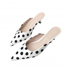 2019 New High Heel Sandals for Women Fashion Pleated Dots Sexy Kitten Heels Tip Binding Slipper Pointed Shoes