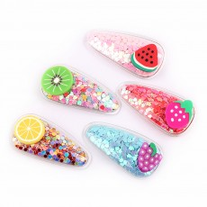 Korean Version Cute Light Fruit Hairpin PVC Jelly Hairpin Princess Clip For Girl 5 pcs Per Pack