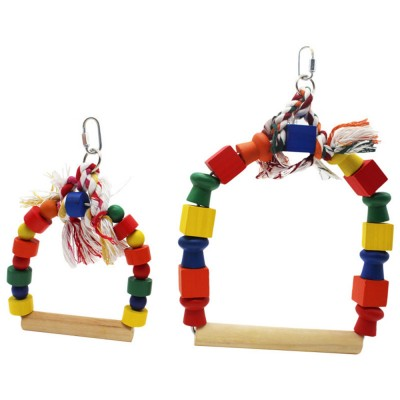 Solid Wood Climb Frame for Parrot Colorful Strap Round Pet Supplies, Safe Non-toxic Iron Ring Real Wood Pet Toys