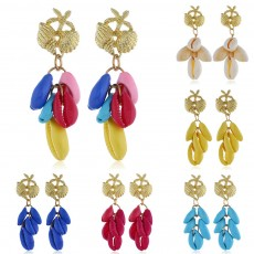 Cluster Shell Earrings for Women Marine Top Decoration Environment Friendly Color Shells Ear Stud, Western Style Pendant