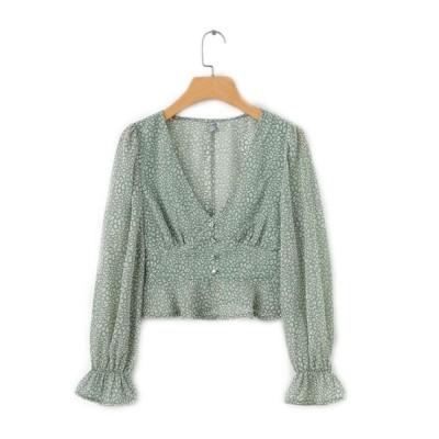Lady Chiffon Shirt Deep-v Collar Flapper Tops Garment Design Long Sleeve Green Georgette Clothe for Women