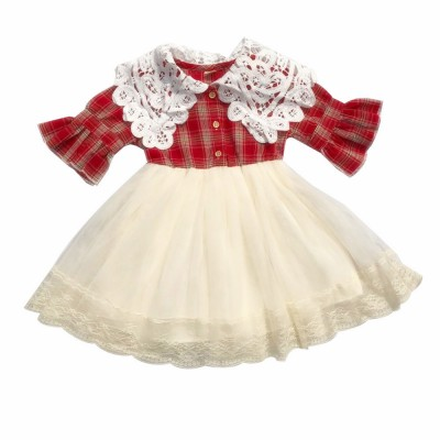 Plaid shirt Bubble Dress for Girls Double-side Shoulder Lace High-quality Cotton Fabric Lining Sweet Style One-piece