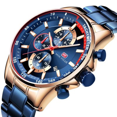 Speed Gauge Watch with Three Index Dial Calendar Men's Waterproof Luminous Quartz Watch with Stain Steel Watch Band