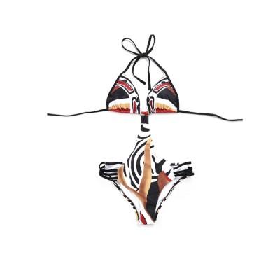 Elegant Minimalist Painting Women Separates Swimsuit Bikini, Skin-friendly Lace-up Conjoined Swimwear for Ladies