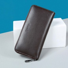 Male Vertical Leather Wallet with Thin Zip European & American Fashion Multi-card Clutch Wallet , Wallets for Young Men
