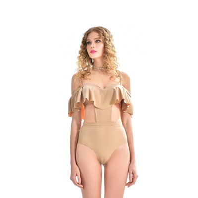 Sexy Cute Ruffles Nude Conjoined Ladies Swimsuit Adjustable Shoulder Straps Breathable Soft Swimwear for Women