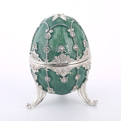 Delicate Green Blue Colored Painting Rhinestone Decorative Ornament Quality Easter Egg Decoration Model Jewelry Storing Box
