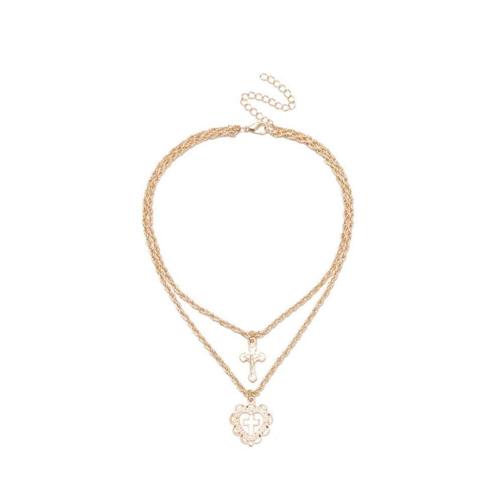 Womens Two Layer Cross Heart Full Rhinestones Pendant Chain Necklace  Pretty HK