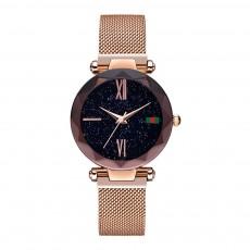 Starry Quartz Watch for Women Glass Dial Magnetic Design Quartz Movement Spiral Decoration Sturdy and Durable Watch