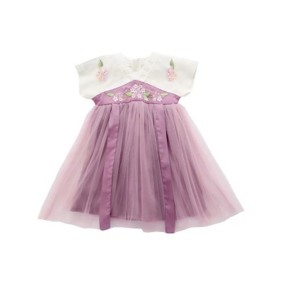 Han Chinese Clothing for Girls V Collar Flower Adornment Ribbon Chinese Characteristics Skin-friendly and Comfortable Dress