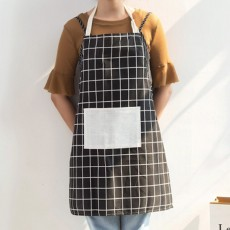 Minimalist Fashion Plaid Cooking Kitchen Cotton Apron Waterproof Dust-proof Adjustable Adult Waist Cloth with Pocket Aprons