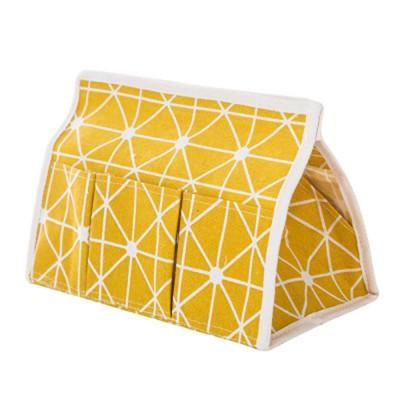 Minimalist Functional Geometric Pattern Tissue Box Cover, Waterproof Wearable Cotton Linen Facial Paper Organizer Holder