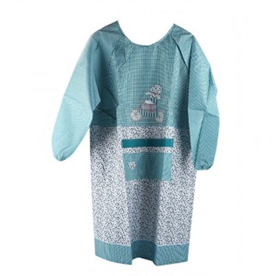 Cute Trees Embroidery Plaid Women Men Apron Dress, Home Kitchen Restaurant Antifouling Adjustable Apron with Pockets