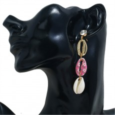Long Conch Earrings for Women Colorful Option Set Auger Design Western Style Multilayer Colored Shell Stud Earring
