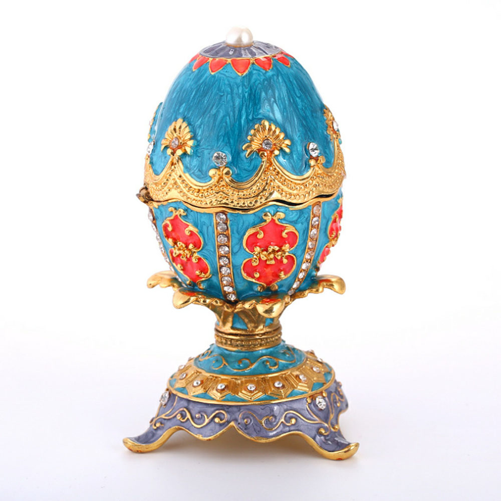 Delicate Fancy Enamel Painted Rhinestone Decorative Ornaments Colorful Easter Egg Model Metal Table Decoration