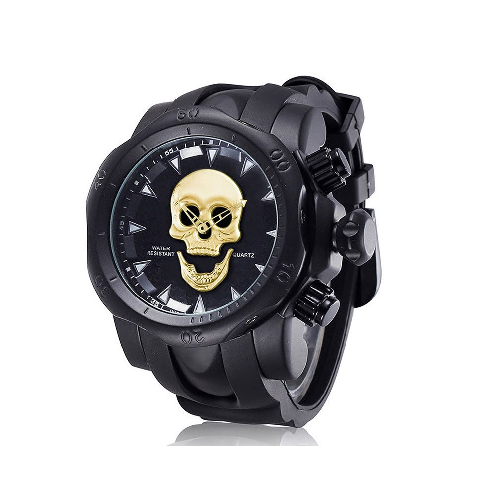 Skull Wrist Watch for Men Rotatable Circle Rubber Strap Contracted Pin Buckle Stainless Steel Sturdy and Durable Personality Watch