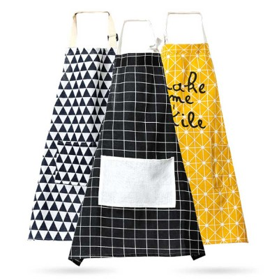 Fashionable Apron for Kitchen 100% Cooking Apron with Pocket Aprons with Strip Dot Printing Patterns Household Accessory