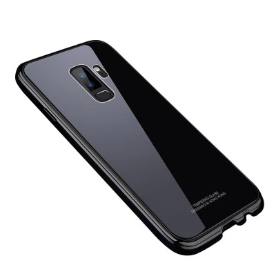 Minimalist Solid Metal Border Tempered Glass Samsung Phone Case, Breaking-proof Phone Protective Cover for Samsung Galaxy Note 9 S9 Plus
