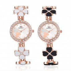 Four-leaf Clover Lady Watch Circular Dial Fashion Style Pin Buckles Stainless Steel Sturdy and Durable Ceramic Wristwatch