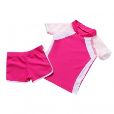 Two-piece Swimming Suit for Girls Wave Point Net Yarn Classic Color Separate Short-sleeve Swimwear