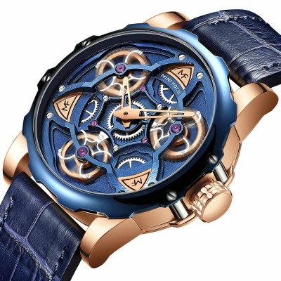 Men's Mechanical Watch Japanese Movement Business Quartz Watch with Gear Gyro Leather Watch Band