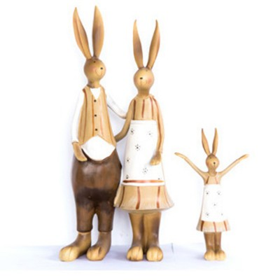 Creative Cute Rabbits Model Family Three Resin Ornament, Delicate Colored Drawing Bunny Weeding Celebration Table Decoration