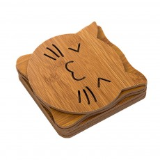 Delicate Creative Carton Hollow Wooden Coaster Thicken Anti-scalding Drink Tea Coffee Cup Mat Tableware