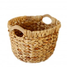Creative Minimalist Garden Straw Weaving Flower Basket, Delicate Rattan Weaving Storing Basket Decoration with Double Handle