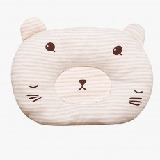 Cute Bear Model Anti-Roll Newborn Infant Pillow Skin-friendly Breathable Colored Cotton Prevent Flat Head Baby Sleep Cushion