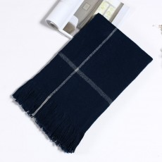 Couples Scarf Imitation Cashmere Material Soft Tippet Cross Stripes Fringe Muffler for Women Men Couples Keep Warm Shawl Winter