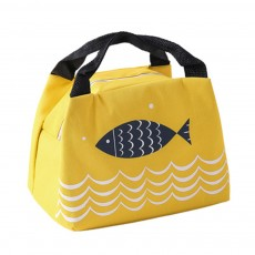 Cute Fish Painting Handheld Heat Protecting Bag, Waterproof Wearable Oxford Cloth Portable Insulation Handle Bag Picnic Pack