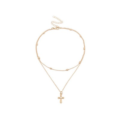 Women Rose Gold Double Layer Beads Cross Pendant Choker Necklace Jewelry S
