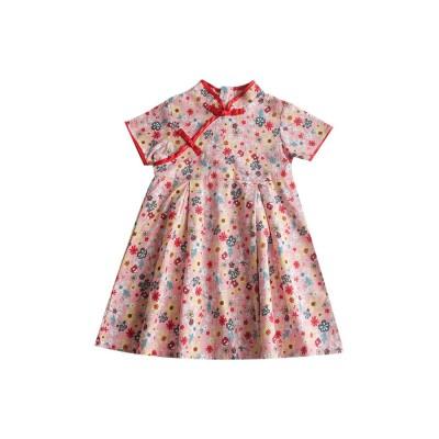 Girls Cheongsam Floral Print Retro Style Short-sleeve Skin-friendly Breathable One-piece Dress Summer