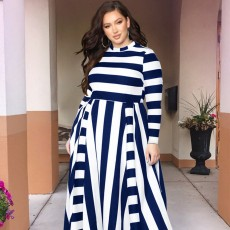 Large Size Striped Dress New Women's Loose Long-sleeved Long-necked Long-Size Dresses 2019 Hot