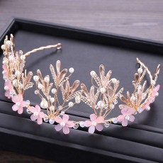 Hoop Ice Snow Crown headdress for Girl Handmade Pearl Alloy Flower Crystal Drilling Hoop Performance Hair Band