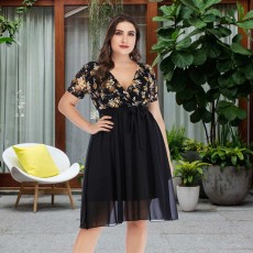 Sexy V-neck lace printed chiffon dress New Big Size Dresses for Spring and Summer 2019 Large Women's Dresses for Fleshy Lady Girls