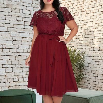 New Big Size Female Dress Comfortable Chiffon Lace Patchwork Short-sleeved Lace Tie Dresses Large Size Lady Dress 2019