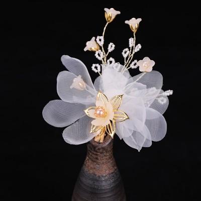 Korean version of women's one-character hairpin, Lovely Korean children flower hairpin pearl hairpin