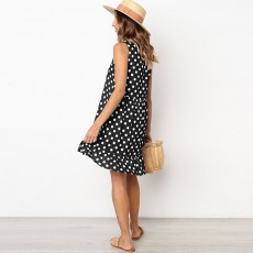 2020 Hot Sell Summer Women Girls Print Polka Dot Dress Ruffle Sleeveless A-Line Casual Loose Short Skirt