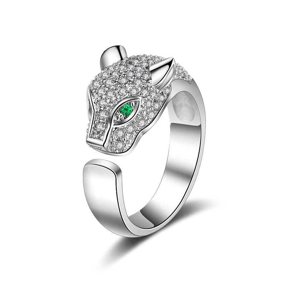 Rhinestone Crystal Leopard Head Ring Wedding Brand Ring Jewelry Christmas Gift Women Jewelry Finger Rings