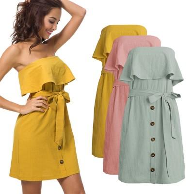 Romantic Off Shoulder Flounce Ruffle Striped Waist Summer Casual Wrap Dress Snap In Front Short Skirt For Women