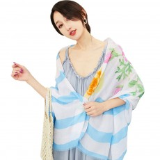 Spring and Summer Cotton Linen Printing Scarf, Ladies Travel Sunscreen Scarf Shawl All Match Scarves For Women Girl