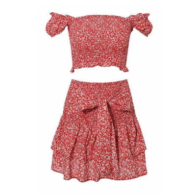 Fashion Summer Suit with Flowers Printing, A Shoulder Shirt with a Half-length Skirts Suit For Women Girls