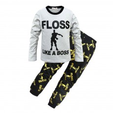 Warm Long-sleeved Jacket and Trousers Two-Piece Suit Children Clothing Cotton Pants With English Alphabet Pattern