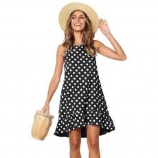 2019 Hot Sell Summer Women Girls Print Polka Dot Dress Ruffle Sleeveless A-Line Casual Loose Short Skirt