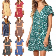 Summer Dot Print Dress Fashion V Neck Button Chiffon Casual Short Sleeve Women Sundress Mini Party Ladies Loose Ruffled Skirt